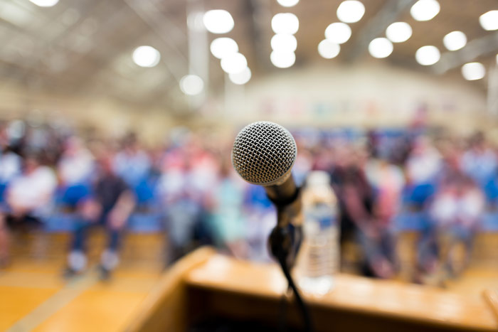 microphone on podium at public meeting